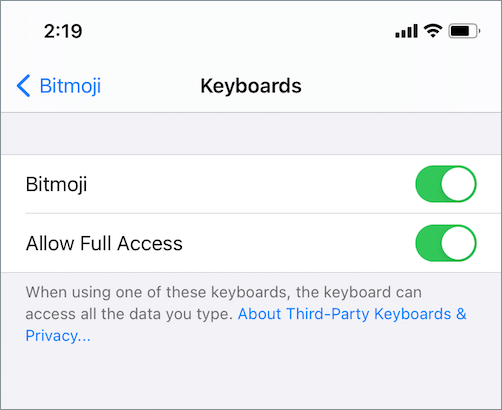 bitmoji keyboard premissions on iphone