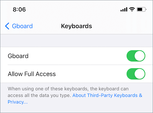how to enable gboard in ios