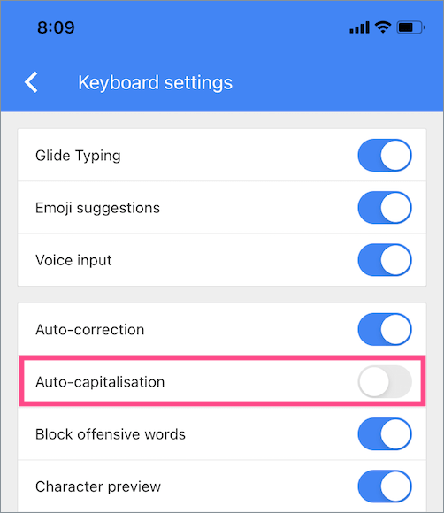 how to turn off auto capitalization on gboard keyboard