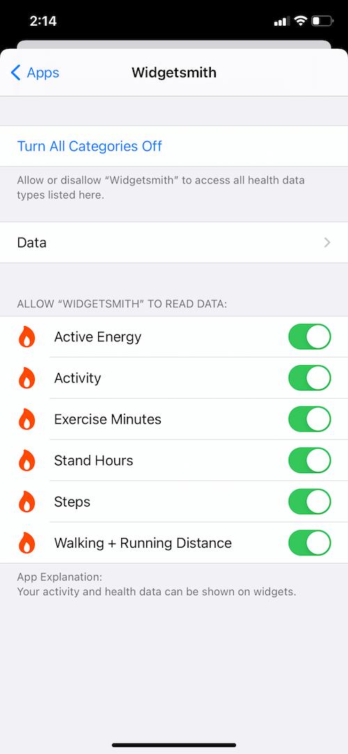 allow widgetsmith access to all health data