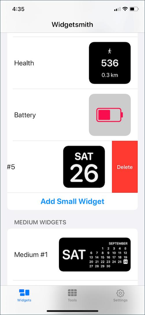 how to delete widgets in widget smith