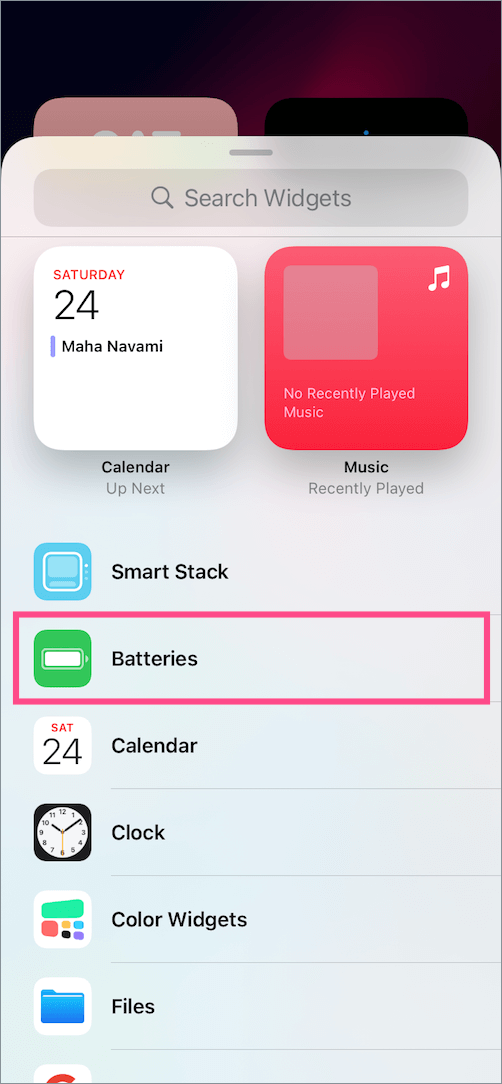 battery widget in ios 14 on iphone 12