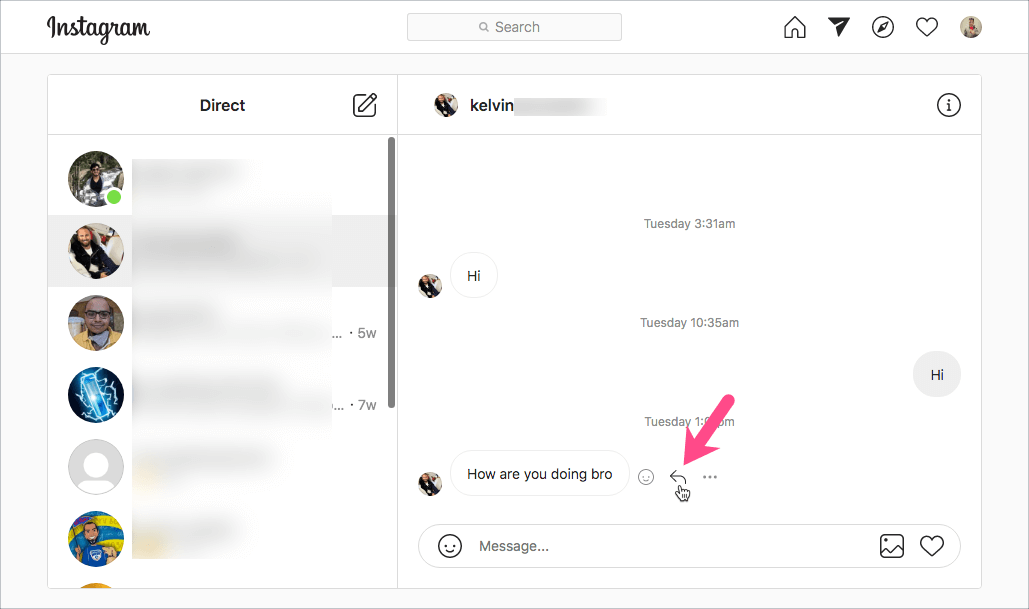 how to reply to individual instagram messages on desktop