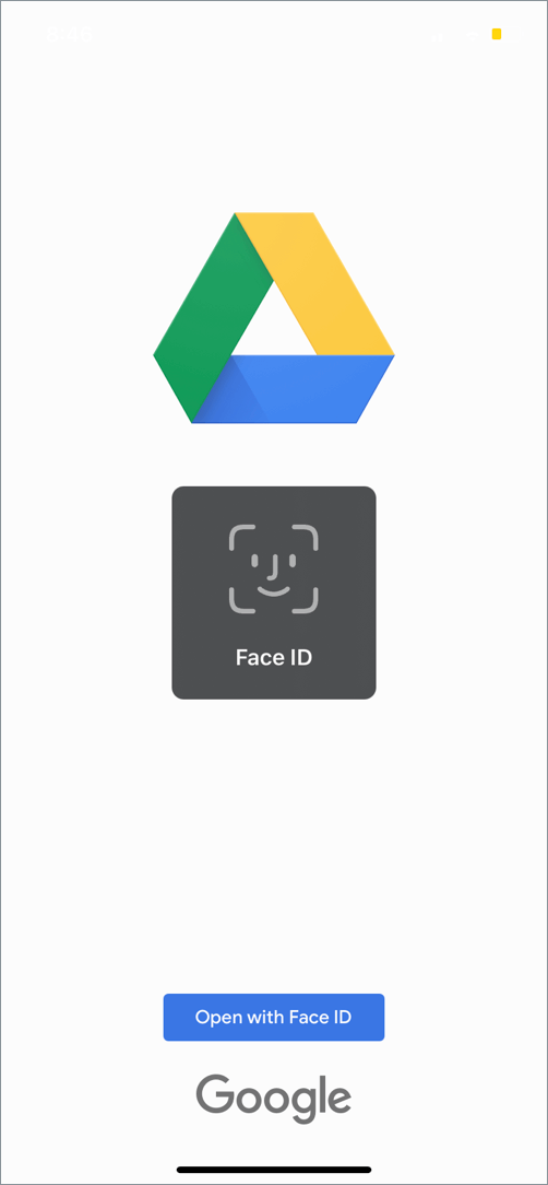 lock google drive with face ID on iphone