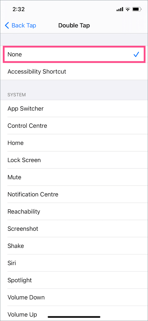 how to turn off double tap to take screenshot on iphone
