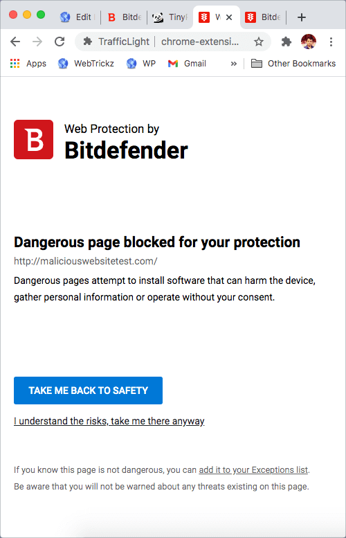 security warning from bitdefender