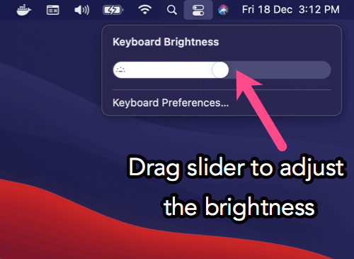 how to manually adjust keyboard brightness on m1 macbook air 2020