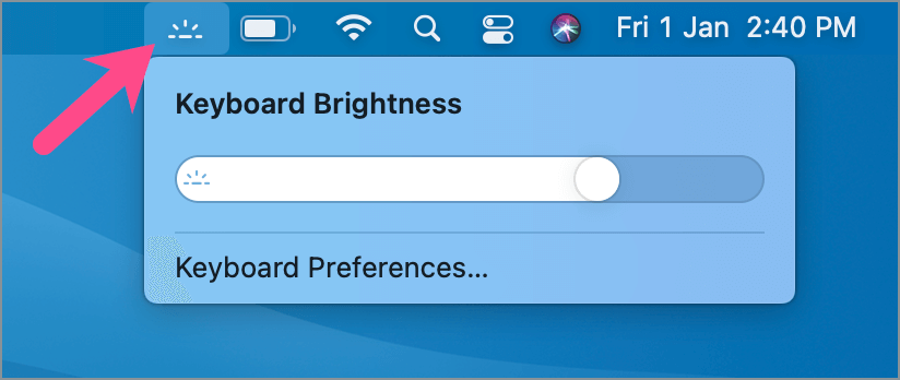 add keyboard brightness to menu bar on Mac