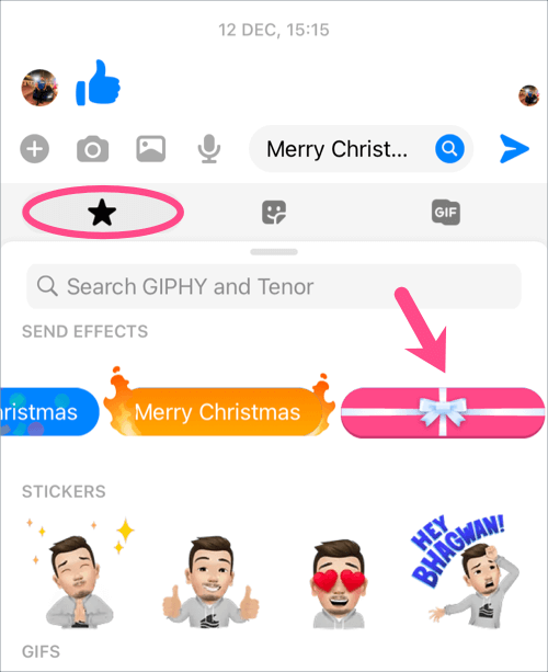 how to send messages with gift wrap effect on messenger