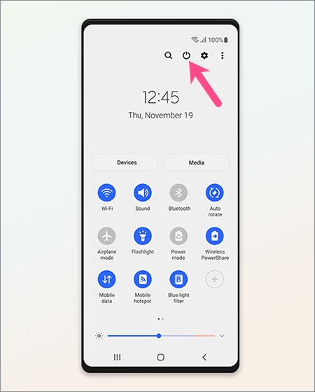 turn off or restart Galaxy A52 from Quick settings panel