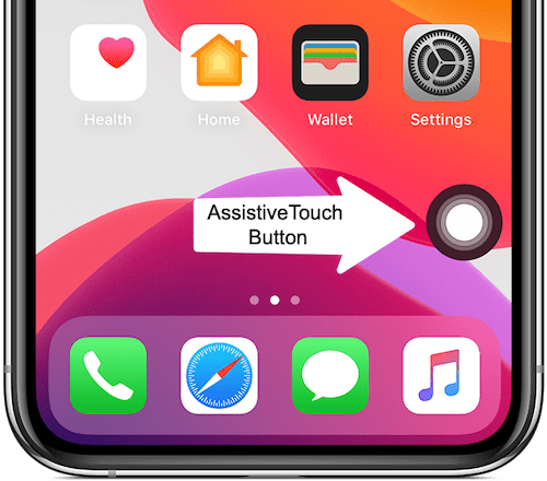 assistive touch button on iPhone screen