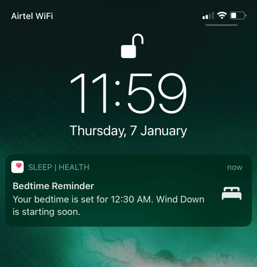 bedtime reminder notification on iPhone