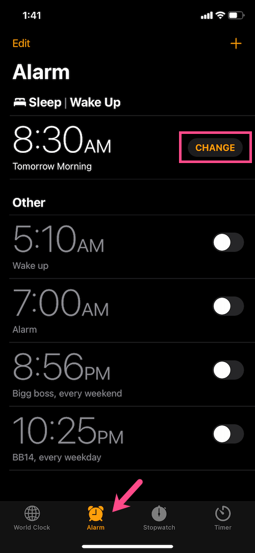 change sleep wake up time in the clock app on iPhone