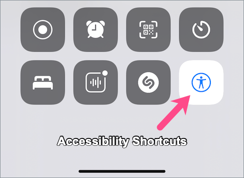 Accessibility Shortcuts in Control Center on iPhone