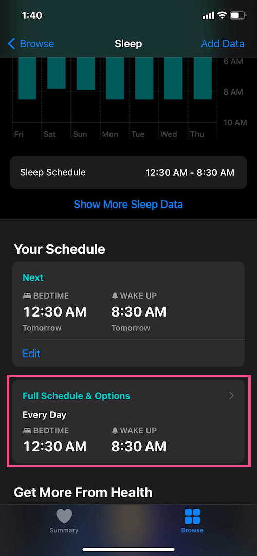 how to edit bedtime schedule settings in iOS 14