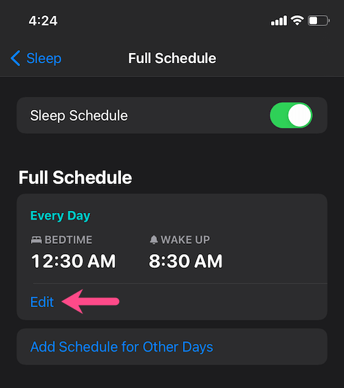 how to change bedtime sleep wake up schedule time