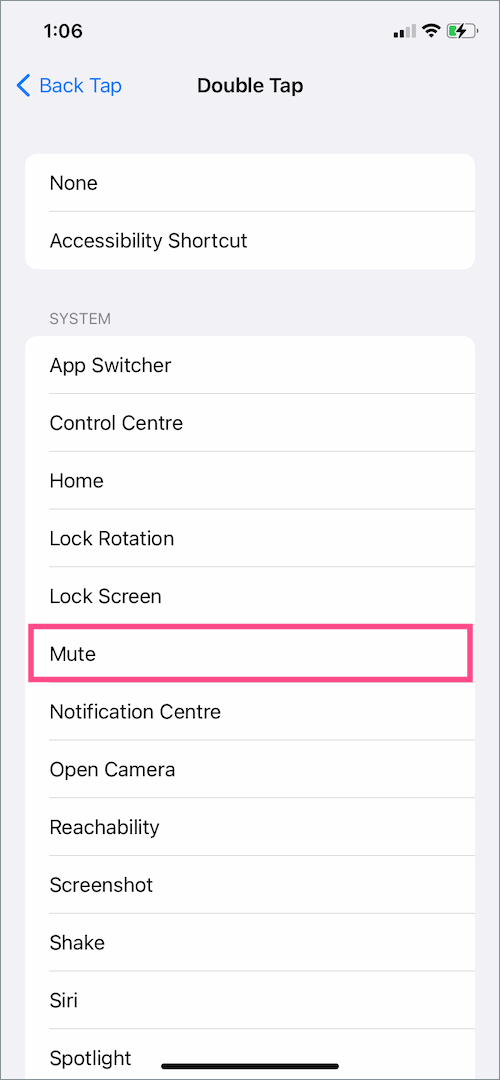 how to mute or unmute iPhone using back tap