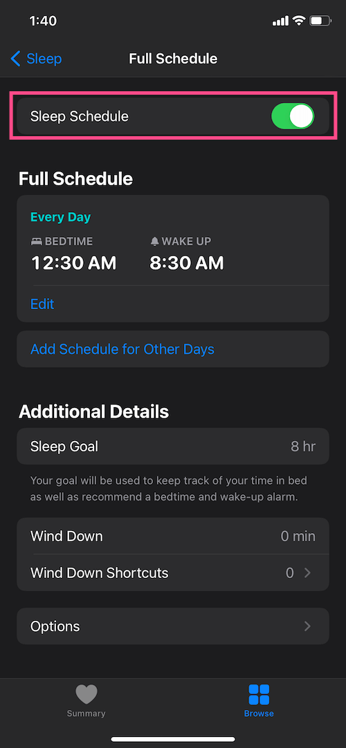 How to turn off sleep schedule on iPhone