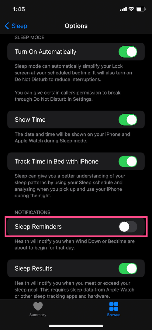 turn off bedtime reminders on iPhone