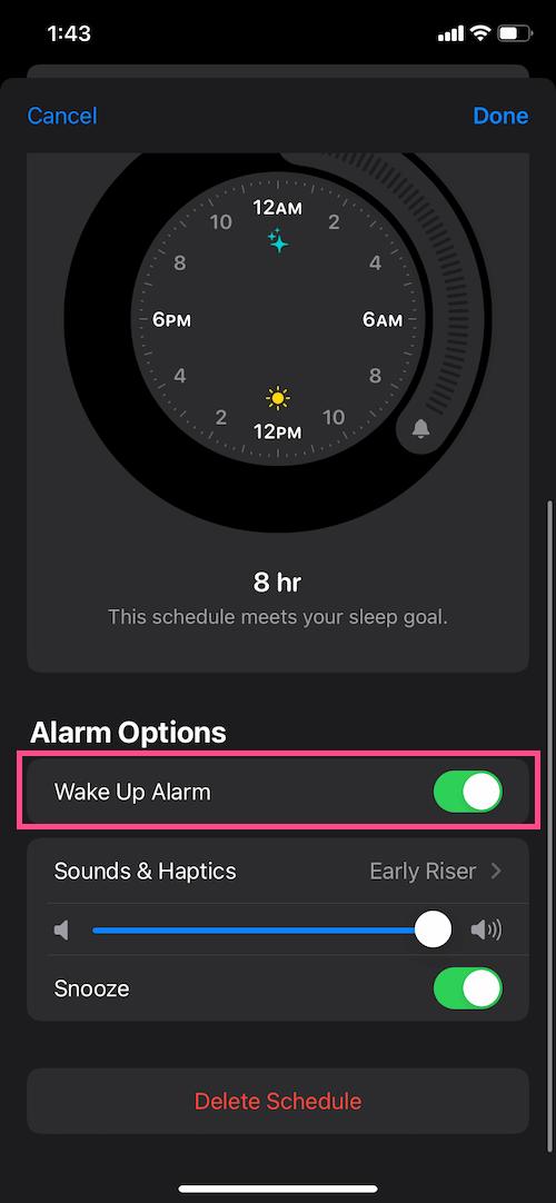 turn off sleep wake up alarm on iPhone