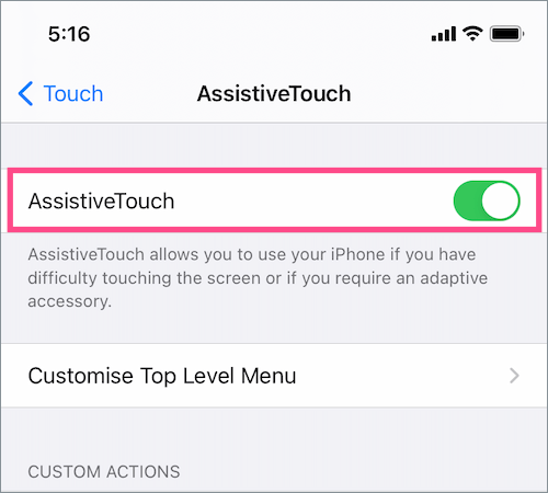 turn on assistive touch in iOS 14 on iPhone
