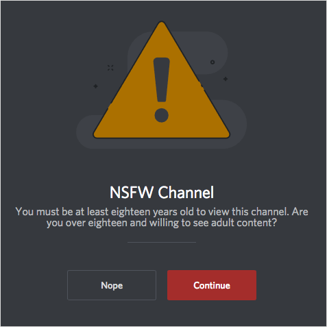NSFW channel warning on discord