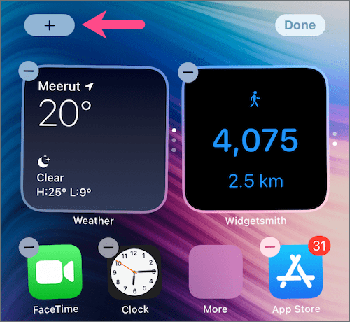 add widget on iOS 14