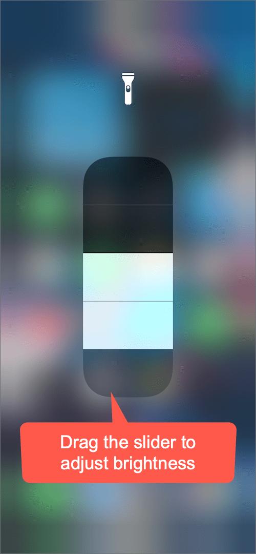 change the brightness of flashlight on iPhone