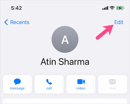 edit a contact on iPhone