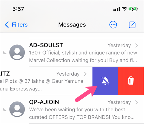 enable dnd for specific messages on iPhone