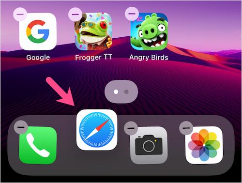 get back safari on iPhone dock