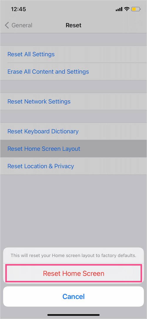 reset Home Screen on iPhone