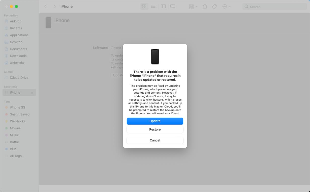 restore or update iPhone in Finder or iTunes