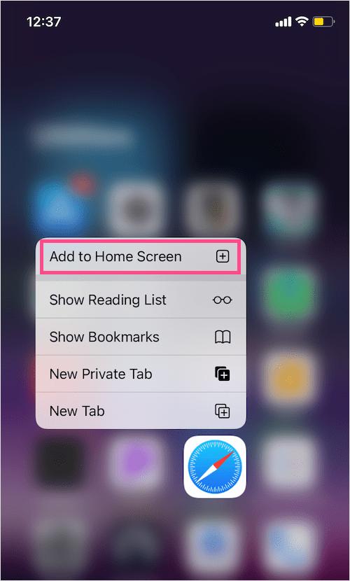 safari add to Home Screen missing on iOS 14