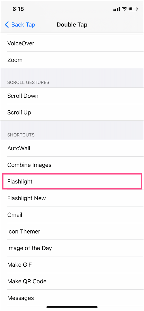 access flashlight using back tap gesture on iPhone