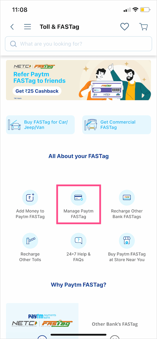 Manage Fastag account in paytm