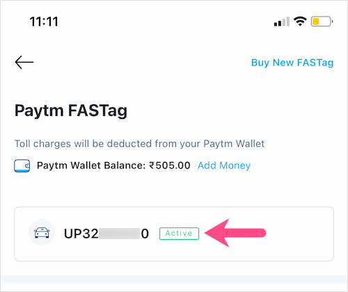 how to check activation status of Paytm Fastag