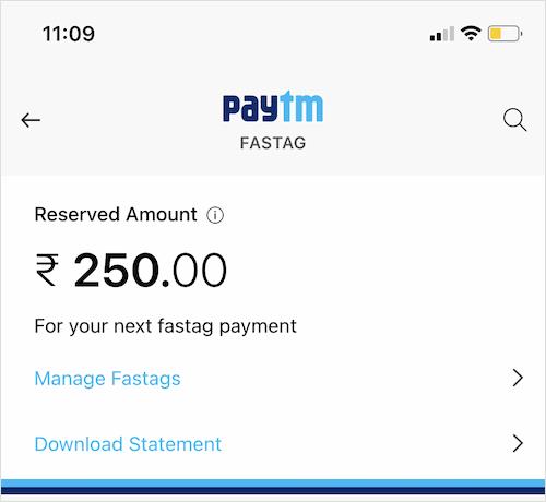 Paytm Fastag balance