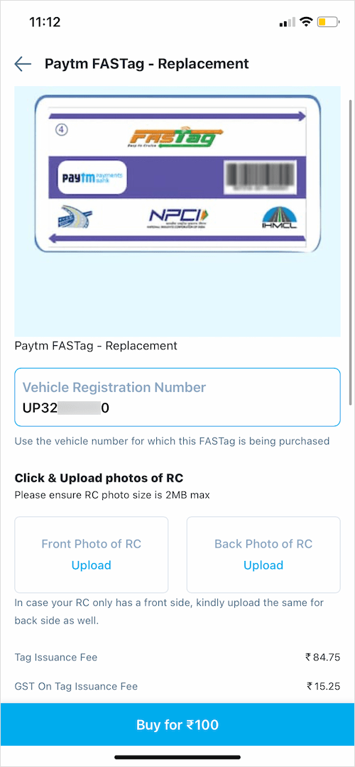 how to order duplicate fastag sticker on paytm