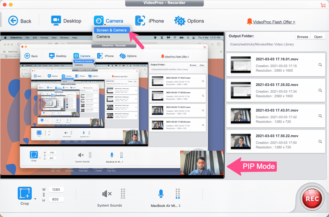 record screen and webcam simultaneously on Mac with VideoProc