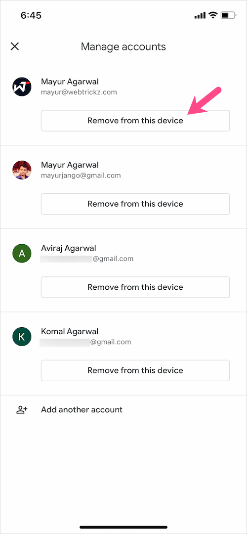 remove google classroom account from iOS device