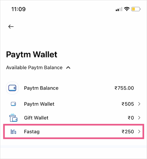 check Paytm Fastag balance