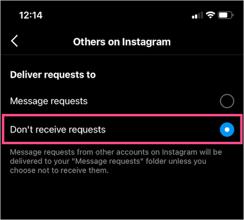 turn off message requests on Instagram app