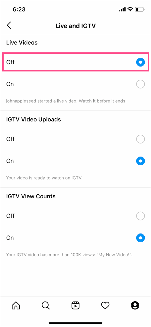 disable live stream notifications on Instagram