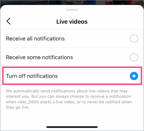 stop getting live video notifications on instagram for one person