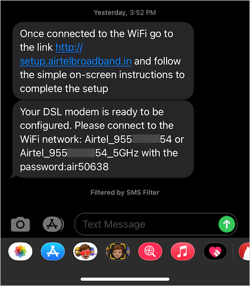 sms from airtel post fiber connection installation