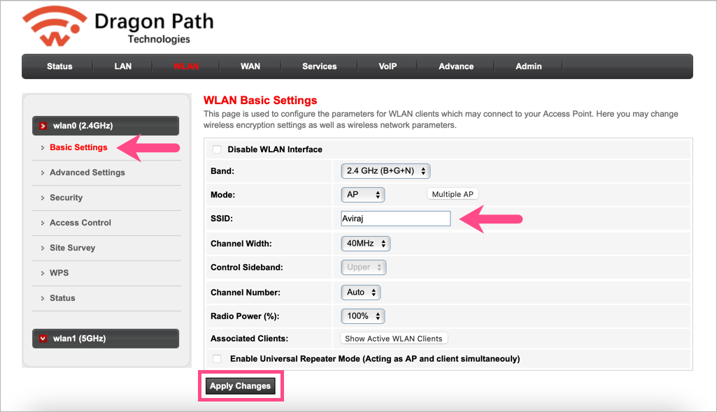 how to change dragon path router wifi name on airtel fiber
