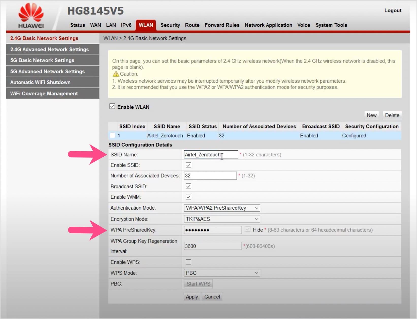 change Huawei modem wifi password on airtel fiber connection