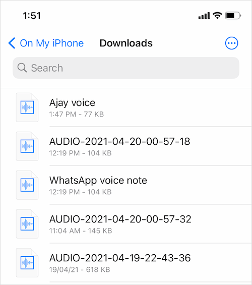 how to find WhatsApp voice notes on iPhone