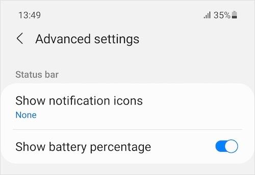 Notification icons hidden in status bar on samsung